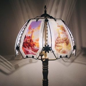 Mid-Century Style Lighthouse Glass  Lamp W/ Dimmer